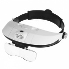 MG81001-H Two-way Regulation Head-Wearing Magnifier w/ 2-LED Light - Black + White (3 x AAA)