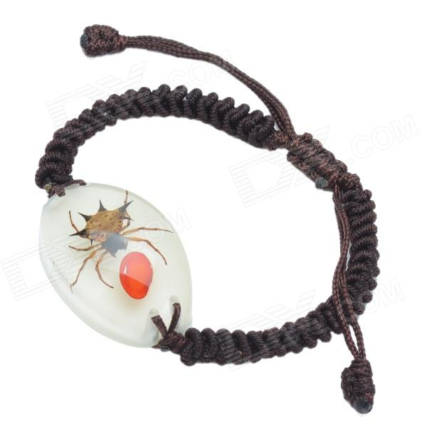 Love Pea & Spider Pattern Acrylic Insect Bracelet - Coffee + Red