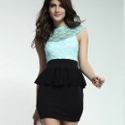 DEAR-LOVER LC2792-1 Celestial Mint Green Floral Lace Blue Peplum Dress - Blue + Black