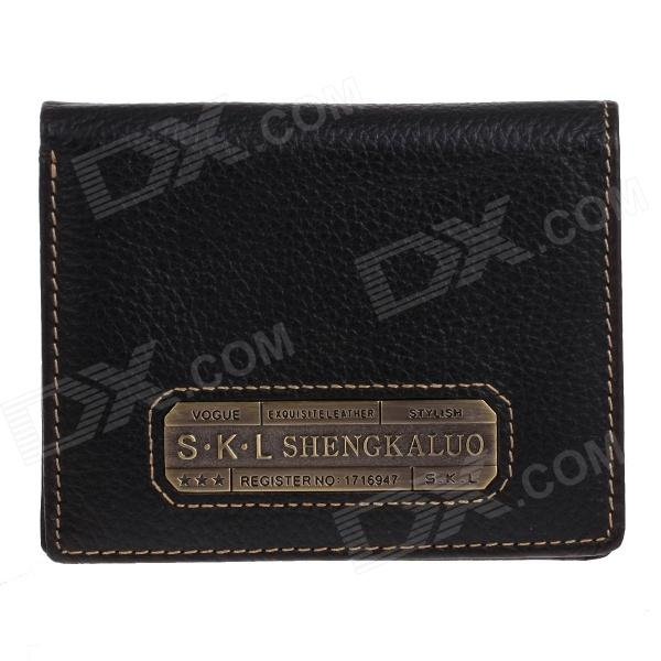 S.K.L AA366IA Stylish Men's Head Layer Cowhide Purse Wallet - Black