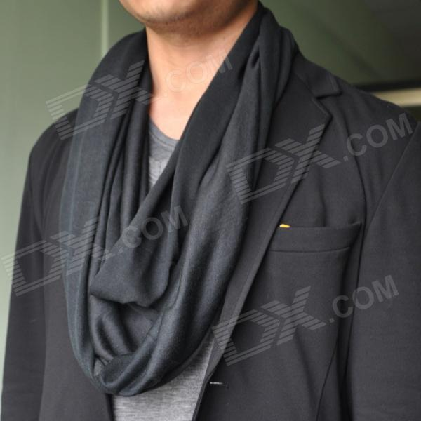 Stylish Multifunctional Outdoor Polyester + Cotton Scarf - Black