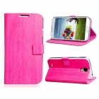 Wood Pattern Protective PU Leather Case Cover Stand for Samsung Galaxy S4 i9500 - Pink