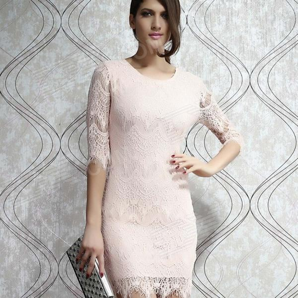 Light Peach Allover Lace Three Fourth Sleeves Dress - Pink light peach allover lace three fourth sleeves dress pink