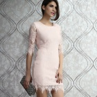 Light Peach Allover Lace Three Fourth Sleeves Dress - Pink