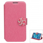 Jasmine Flower Silk Protective PU Leather Case Cover Stand for Samsung Galaxy S4 i9500 - Deep Pink