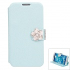 Jasmine Flower Silk Protective PU Leather Case Cover Stand for Samsung Galaxy S4 i9500 - Sky Blue