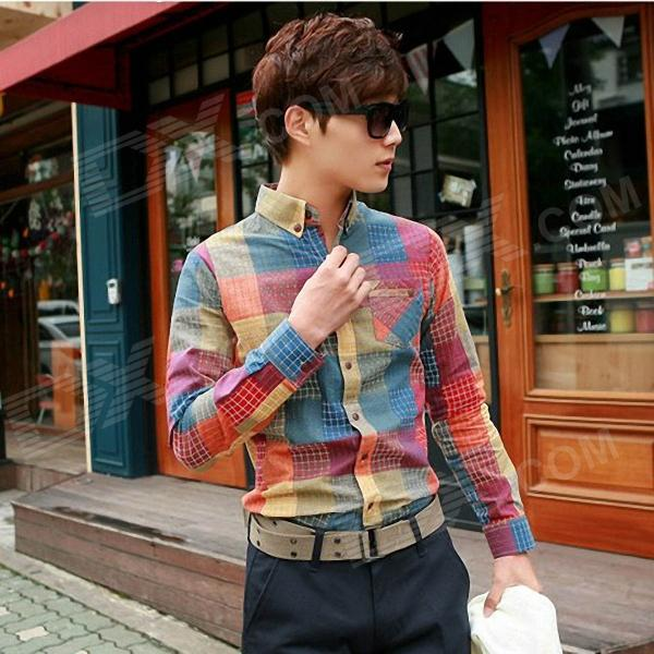Stylish Men's Slim Fit Dazzle Color Lattice Shirt - Multicolored (Size-L)