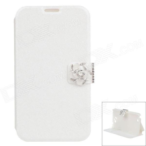 Jasmine Flower Silk Protective PU Leather Case Cover Stand for Samsung Galaxy Note 2 N7100 - White чехол клип кейс samsung protective standing cover great для samsung galaxy note 8 темно синий [ef rn950cnegru]