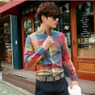 Stylish Men's Slim Fit Dazzle Color Lattice Shirt - Multicolored (Size-XL)