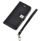 HELLO DEERE Ailun series PU Leather Case Cover w/ Card Slot / Strap for Iphone 5 / 5s - Black