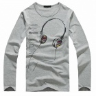 Headphones Pattern Men's Long-Sleeve T-shirt - Grey (Size-XL)