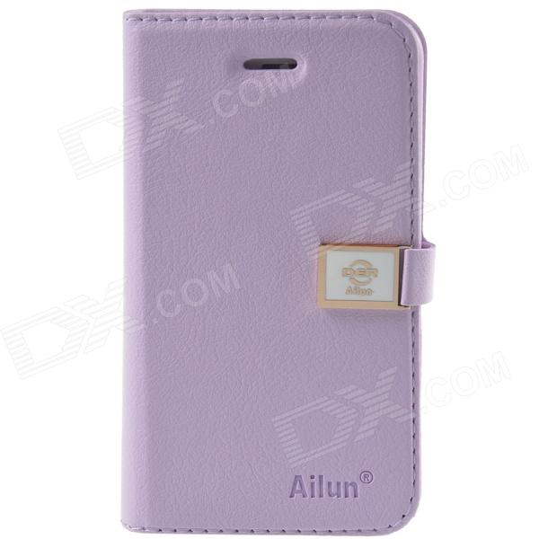 HELLO DEERE Ailun series PU Leather Case Cover w/ Card Slot / Strap for Iphone 4 / 4s - Light Purple