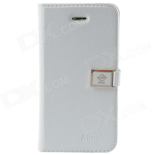 HELLO DEERE Ailun series PU Leather Case Cover w/ Card Slot / Strap for Iphone 5 / 5s - White