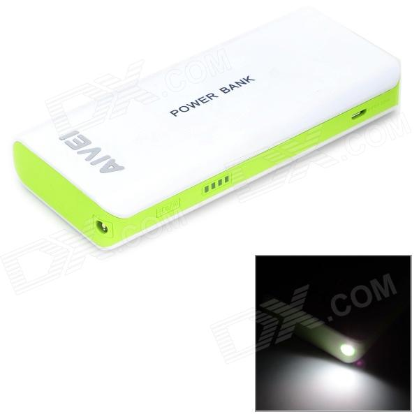 AIVEI 1-2011 Portable External 12000mAh Power Bank for Cell Phone / Tablet - White + Light Green portable 6000mah power bank w flashlight for mobile tablet pc more pink white