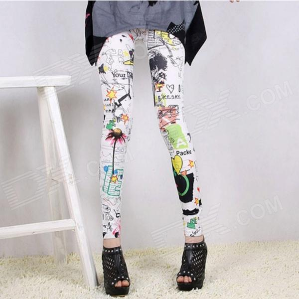 Polyamide Blended Leggings - Camouflage + White (M)