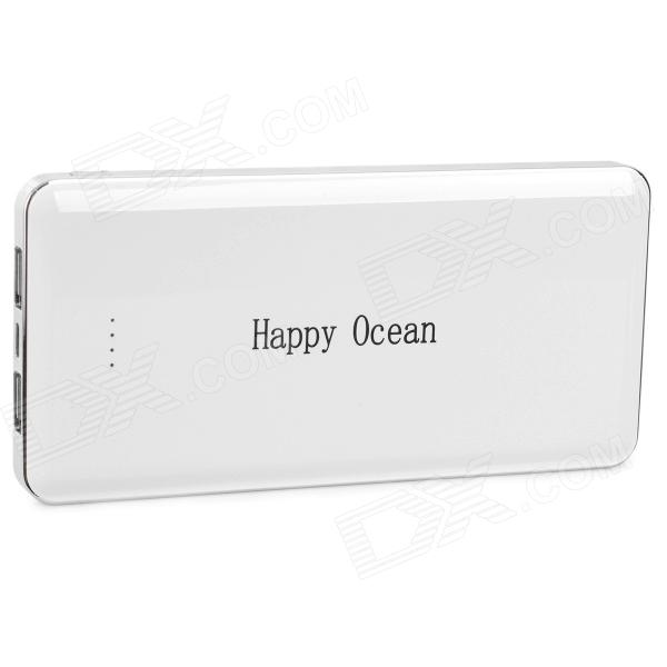 Happy Ocean Universal Rechargeable 12000mAh Dual USB Output Power Bank - White + Silver