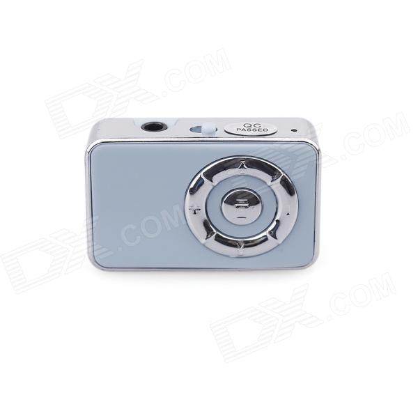 PORTWORLD J01 Stylish Mini Electroplate Clamp MP3 Music Player - Light Blue + Silver