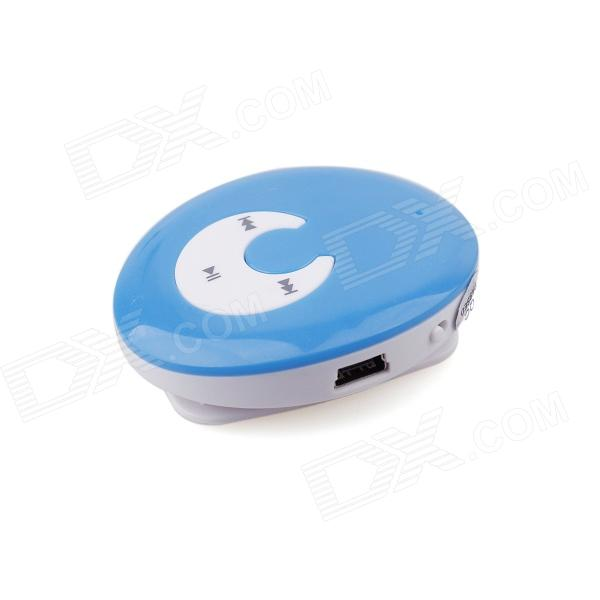 PORTWORLD E01 Fashionable Mini Smiling Face Clamp MP3 Music Player - Blue