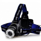 Cree XM-L T6 900lm 3-Mode Cold White Light Zooming Headlamp - Black(1 or 2 x 18650)