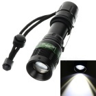 Mechanical LED 210lm 3-Mode White Light Zooming Flashlight - Black(1 x 18650 or 3 x AAA)