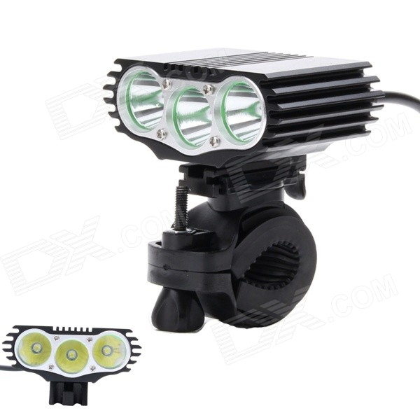 ZHISHUNJIA 3-LED 2600lm 3-Mode White Bicycle Light w/ Taillight - Black (4 x 18650)