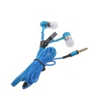 HH-135 Novel Zipper Style Universal Wired In-ear Headset - Blue (3.5mm Plug)