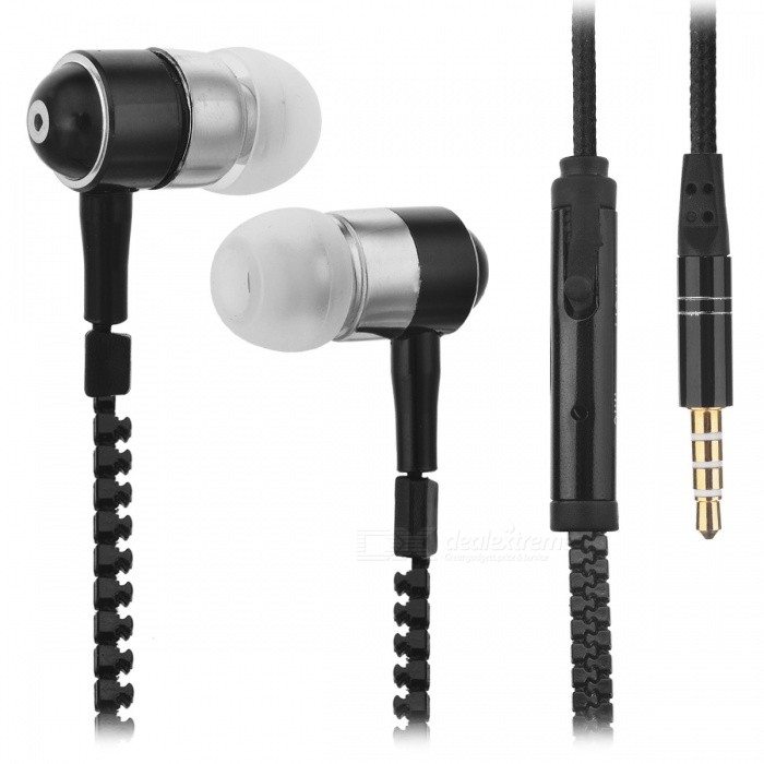 HH-135 Novel Zipper Style Universal Wired In-ear Headset - Black (3.5mm Plug)