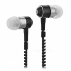 HH-135 Zipper Style Universal 3.5mm Plug Wired In-Ear Headset - Black
