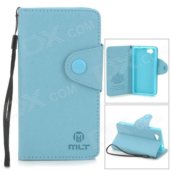 Stylish Protective PU Leather Case for Sony Xperia Z1 Mini / Xperia Z1S / Xperia Z1 f / D5503 - Blue mooncase soft silicone gel side flip pouch hard shell back чехол для samsung galaxy s6 grey