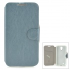 MUHE MH-i95001 Protective PU Leather + Silicone Case for Samsung i9500 - Blue Grey
