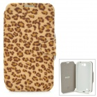 MUHE MH-N71001 Leopard Style Protective PU Leather + Silicone Case for Samsung N7100 - Yellow