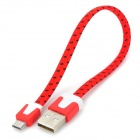 Universal USB to Micro USB Sync Data Flat Cable for Cell Phone - Red