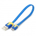 Universal USB to Micro USB Sync Data Flat Cable for Cell Phone - Blue + Yellow