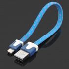 Universal USB to Micro USB Sync Data Flat Cable for Cell Phone - Light Blue + Dark Blue