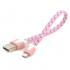 Universal USB to Micro USB Sync Data Flat Cable for Cell Phone - Pink + Blue