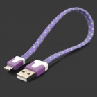 Universal USB to Micro USB Sync Data Flat Cable for Cell Phone - Purple + Green