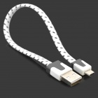 Universal USB to Micro USB Flat Data Cable for Phone - White+Black