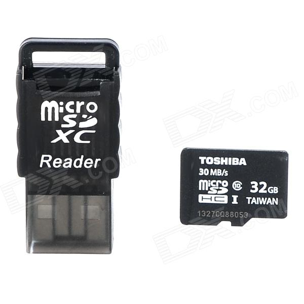 Toshiba Micro SDHC / TF Memory Card w/ USB Card Reader - Black (32GB / Class 10) patriot memory high quality c4 32gb micro sdhc tf memory card with card adapter black