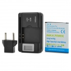 ''2100mAh'' Battery + 0.8'' LCD USB Power Charger + EU-Plug Adapter for Samsung Galaxy S3 Mini i8190