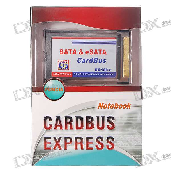 2-Port SATA/eSATA PCMCIA/Cardbus Expansion Card for Laptops