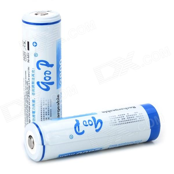 "GD Replacement Rechargeable ""2800mAh"" 18650 Li-ion Batteries Set - White + Blue (2 PCS)"