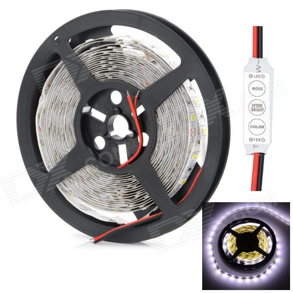 HML 72W 14000lm 6500K 300 x SMD 5730 LED White Light Strip w/ Mini Controller - (5M / 12V)