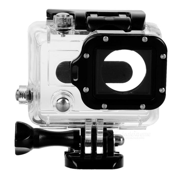 Side Open Protective Case w/ Individual Aluminum Alloy Strap Lens Ring for GoPro Hero 3+/3 - Black