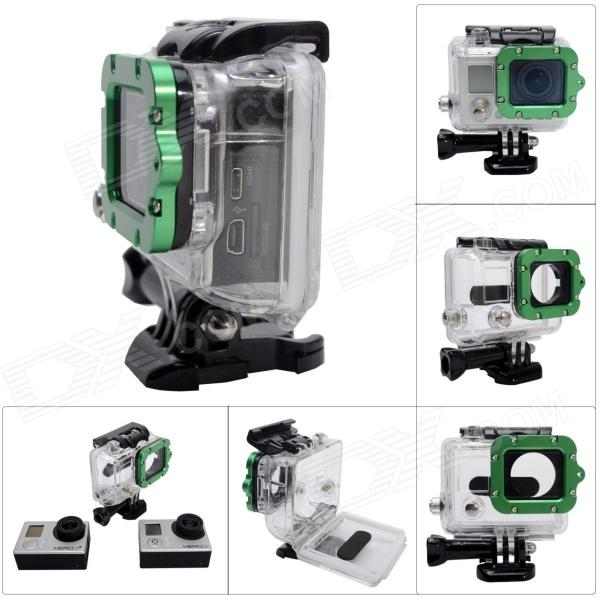 Waterproof Case w/ Individual Aluminum Alloy Strap Lens Ring for GoPro Hero 3+/3 - Green Ring hr113 gn high precision cnc aluminum alloy lens strap ring for gopro hero 3 green