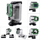 Waterproof Case w/ Individual Aluminum Alloy Strap Lens Ring for GoPro Hero 3+/3 - Green Ring