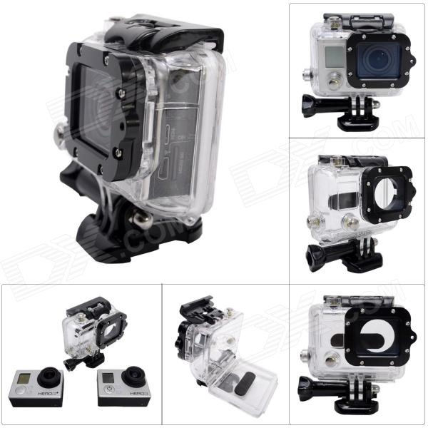 Waterproof Case w/ Individual Aluminum Alloy Strap Lens Ring for GoPro Hero 3+/3 - Black RingBags &amp; Cases<br>ColorBlack + Translucent + Multi-ColoredMaterialABS + acrylic + glass + aluminum alloyQuantity1 SetCompatible BrandGoProCompatible ModelsHero3+/Hero3Water ResistantOthers,45m WaterproofAnti-ShockNoSizeOthers,8.5*8*5 CMDimension8.5*8*5 cmOther Features45m WaterproofPacking List1 x Case with Black strap lens ring<br>