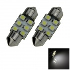 Festoon 31mm 0.6W 50lm 6 x SMD 1210 LED White Light Car Reading / Roof / Dome Lamp - (12V / 2 PCS)