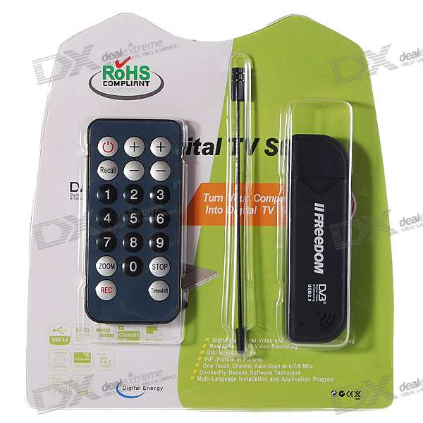 DVB-T Digital TV USB 2.0 Dongle with Remote