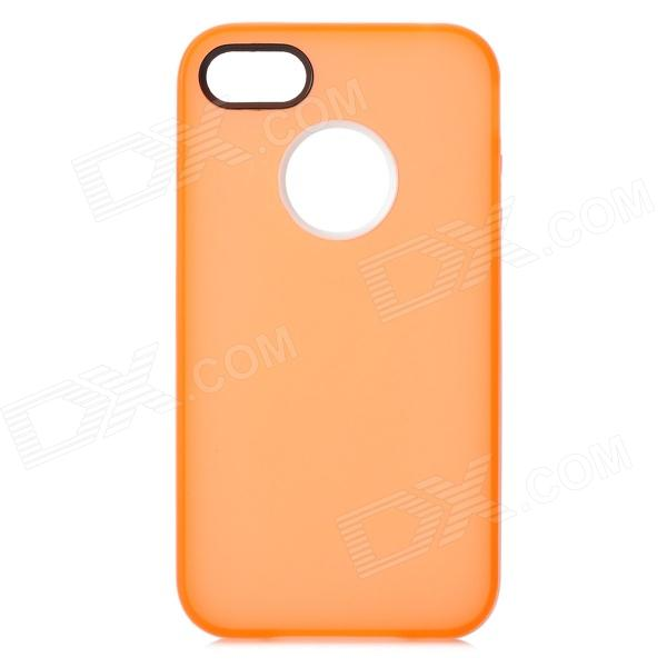 S-What TPU + PC Protective Matte Back Case for IPHONE 4 / 4S - Translucent Orange + White s what protective matte tpu pc case for iphone 5 5s white translucent blue