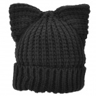 Cat Ear Style Woolen Yarn Hat for Women - Black